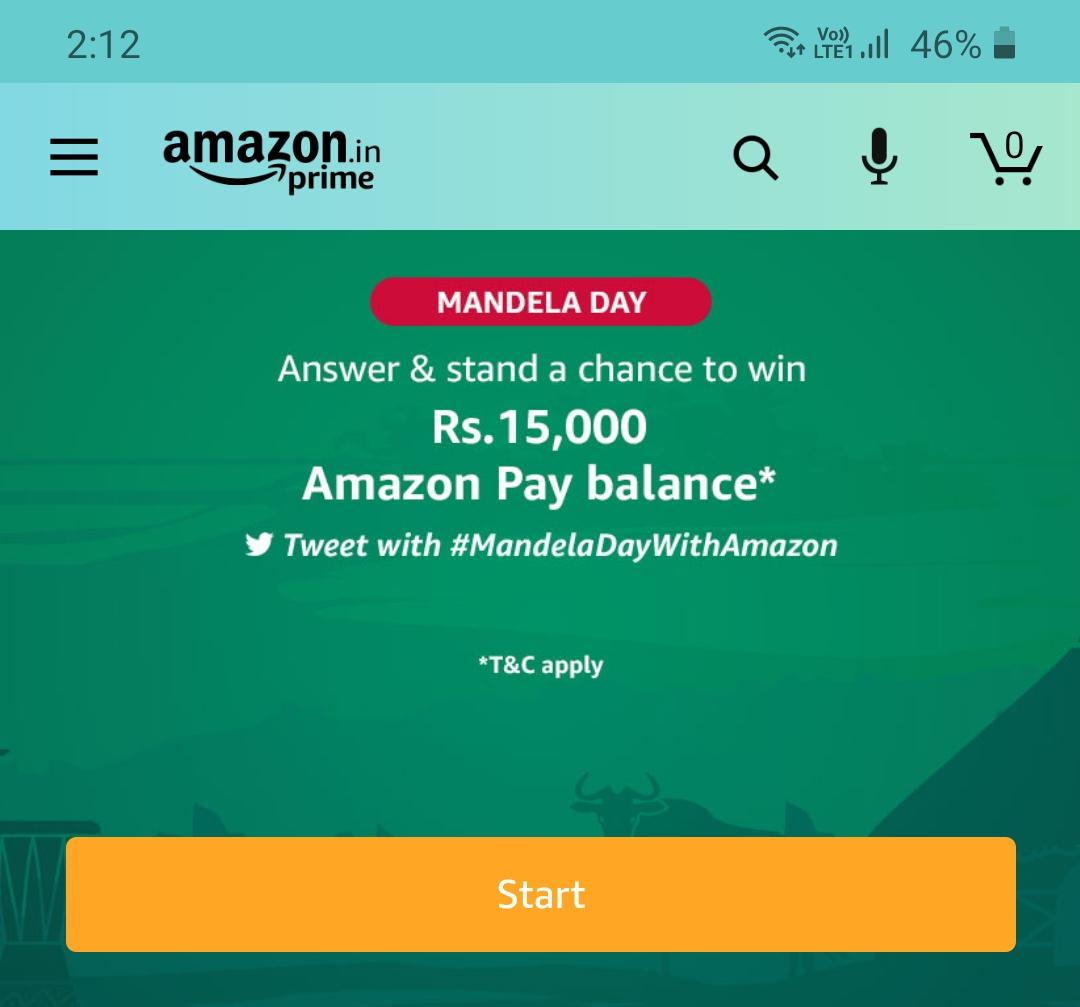 Today Amazon Mandela Quiz Answers Win – Rs.15000 - Mandela Day